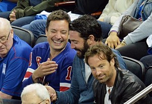 Jimmy Fallon and Mets pitcher Matt Harvey attends game 3 of the 2014 NHL Stanley Cup Final at Madison Square Garden