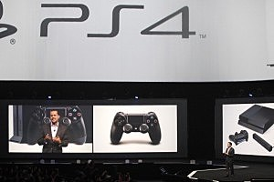 Andrew House, President and group CEO Sony Computer Entertainment Inc., speaks onstage during the Sony press conference at E3