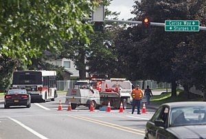 The road to Reynolds High School is blocked after news of a school shooting  in Troutdale, Oregon