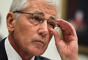 . Secretary of Defense Chuck Hagel listens during a hearing before the House Armed Services Committee