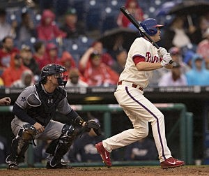 Third baseman Reid Brignac #17 of the Philadelphia Phillies hits a two run double in the bottom of the sixth inning