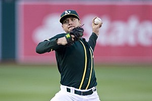 Scott Kazmir #26 of the Oakland Athletics pitches against the New York Yankees
