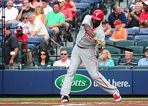 Ryan Howard #6 of the Philadelphia Phillies hits a first inning two-run home run against the Atlanta Braves