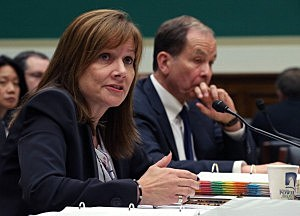 General Motors CEO Mary Barra (L), and Anton Valukas, head of GM's internal recall investigation, field questions while testifying during a House Energy and Commerce Committee hearing