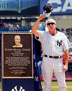 "Rich ""Goose"" Gossage stands with his new plaque in Monument Park at Yankee Stadium"