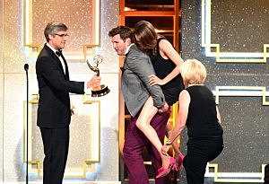 "Crew of ""The Ellen DeGeneres Show"" onstage during The 41st Annual Daytime Emmy Awards at The Beverly Hilton Hotel"