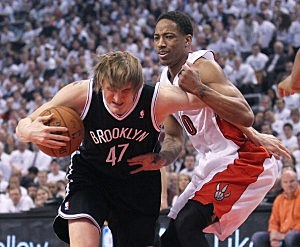 Andrei Kirilenko #47 of the Brooklyn Nets