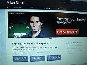 The hom page of the PokerStars web site