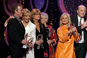 Actors Mike Lookinland, Florence Henderson , Susan Olsen, ann B. Davis, Mauren McCormick and producer Lloyd J. Schwartz accept the Pop Culture Award onstage during the 5th Annual TV Land Awards in 2007.