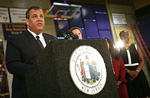 Governor Chris Christie speaks at a press conference after meeting with student leaders at Camden High School in Camden
