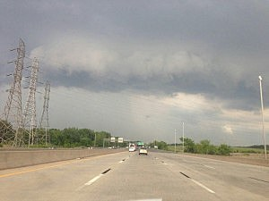Dark clouds move in over Route 29 in Trenton