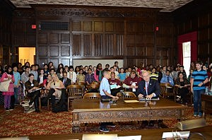 Students and staff at a hearing about designating taffy as the state candy