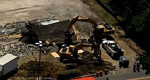 Aerial view of collapsed building in Cherry Hill