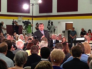 Gov. Christie at a town hall meeting in Haddon Heights