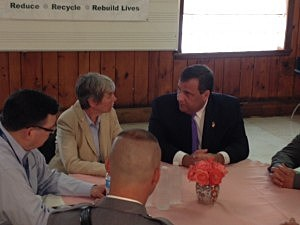 Governor Christie during a visit to the Rescue Mission of Trenton to announce the expansion of a pilot program that allows police officers to carry and administer Narcan.