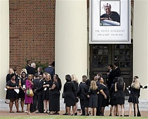 Mourners wait outside Wait Chapel before a memorial service for poet and author Maya Angelou at Wait Chapel. at Wake Forest University in Winston-Salem, N.C