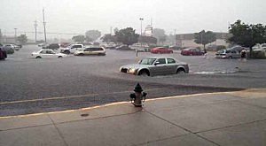 Flash flooding at a Glassboro shopping center