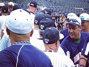 Gov. Chris Christie following a charity softball game at Yankee Stadium