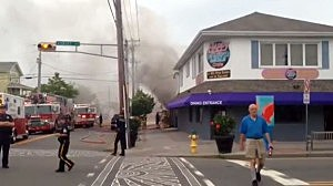 Smoke from a fire at the Happy Days Cafe in Ocean City