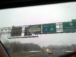 Overhead signs on Interstate 95 in Mercer County