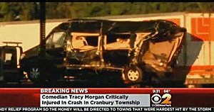 Limo van carrying  Tracy Morgan in New Jersey Turnpike crash is taken away