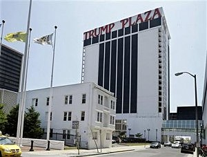 Trump Plaza Hotel and Casino towers over Vera Coking's three story rooming house in Atlantic City