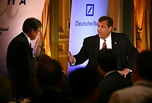 Gov. Chris Christie is interviewed by CNBC Chief Washington Correspondent John Harwood during the Delivering Alpha Conference in New York