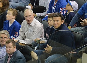 Giants head coach Tom Coughlin (2nd from L) and professional football player (4th from L) Chris Snee attend at game four of the 2014 NHL Stanley Cup Final at Madison Square Garden
