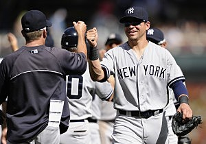 Jacoby Ellsbury #22 of the New York Yankees celebrates a win against the Minnesota Twins