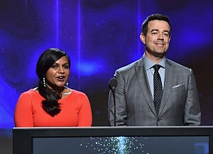 Mindy Kaling and tv personality Carson Daly speak onstage at the 66th Primetime Emmy Awards Nominations at Leonard H. Goldenson Theatre in North Hollywood, California.