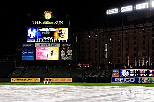 Members of the Baltimore Orioles walk back to the dugout after a game between the New York Yankees and Baltimore Orioles was called due to rain at Oriole Park at Camden Yards
