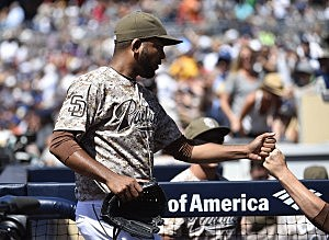 Odrisamer Despaigne #40 of the San Diego Padres