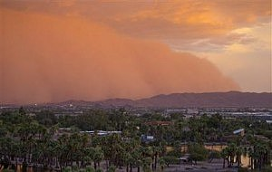 A dust storm moves through Phoenix,