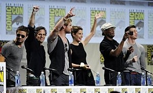 Jeremy Renner, from left, Chris Hemsworth, Cobie Smulders, Samuel L. Jackson and Chris Evans stand during the Marvel panel at Comic-Con International in San Diego