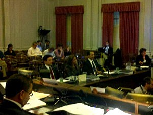 Regina Egea at the witness table before the legislative Bridgegate committee with her attorney Michael Martinez