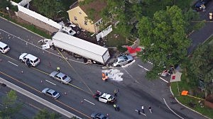 Route 17 in Waldwick where a police officer was killed when a tractor trailer rear-ended his unmarked car
