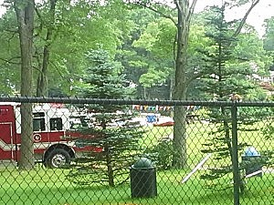 Rescue crews at Cook's Pond in Denville