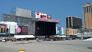 Stage for Blake Shelton and Lady Antebellum on the beach in Atlantic City