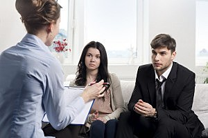 Young couple consults at the psychologist