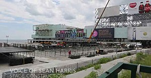 Work on the stage to be used for the Blake Shelton and Lady Antebellum concerts on the beach in Atlantic City