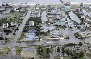 Aerial photo provided by the U.S. Coast Guard shows flooding caused by Hurricane Arthur on the Outer Banks of North Carolina.
