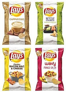 "This combination made from images provided by Frito-Lay shows the four finalists for its second annual ""Do Us a Flavor"" contest"