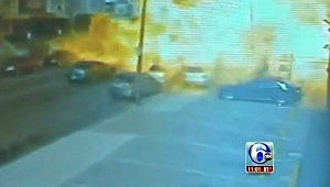 Screen capture of video showing food truck exploding in Philadelphia