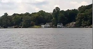 Boat house where zoologist Gerald Andrejcak says he encountered a Green Anaconda snake