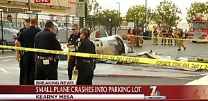 Small plane that crashed in the parking lot of a San Diego shopping center