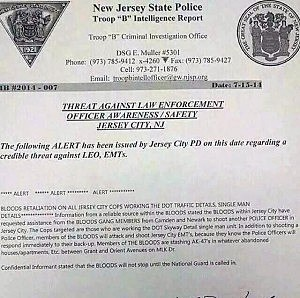 Threat bulletin issued by New Jersey State Police