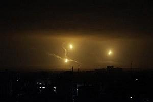 Flares light up the sky over Gaza City