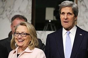 Hillary Clinton (L) and  John Kerry