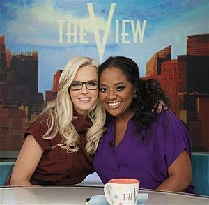 "Jenny McCarthy, left, and Sherri Shepherd on the set of ""The View"""