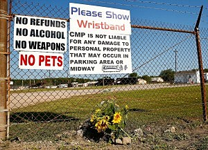 Flowers lay next to the front entrance of the Canandaigua Motorsports Park